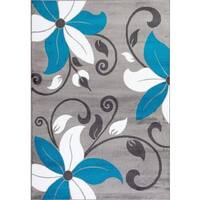 Persian Rugs Modern Floral Turquoise White Gray Area Rug (5'2 x 7'2) - 5'2 x 7'2