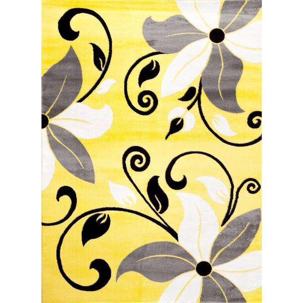 """Persian Rugs Modern Floral Yellow White Gray Area Rug - 7'10"""" x 10'6"""""""