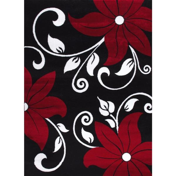 "Persian Rugs Modern Floral Black White Red Area Rug - 7'10"" x 10'6"""