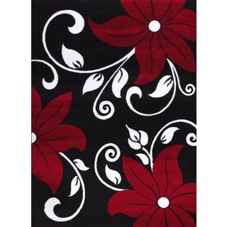 Persian Rugs Modern Floral Black White Red Area Rug (5'2 x 7'2)