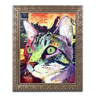 Dean Russo 'Curiosity Cat' Ornate Framed Art
