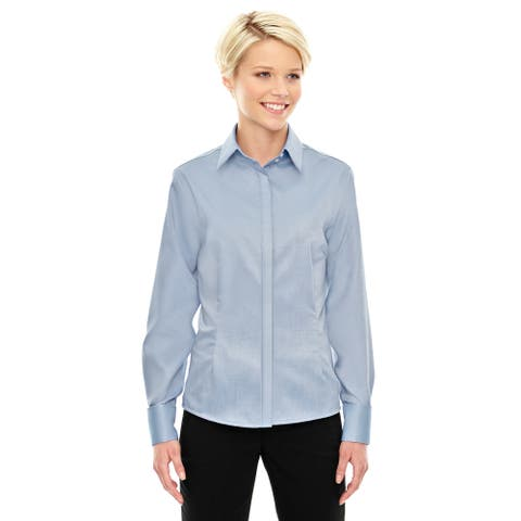 Refine Wrinkle-Free Women's Cool Blue 808 Two-Ply 80'S Cotton Royal Oxford Dobby Taped Shirt