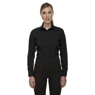 Rejuvenate Women's Black Performance Shirt With Roll-Up Sleeves
