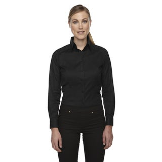 Wrinkle-Free Women's Black Two-Ply 80'S Cotton Taped Stripe Jacquard Shirt