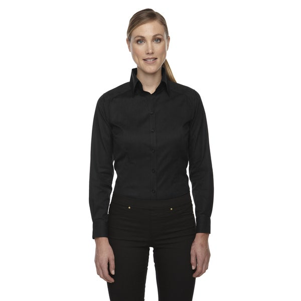 Wrinkle free women 39 s black two ply 80 39 s cotton taped for Wrinkle free shirts for women