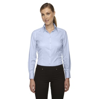 Wrinkle-Free Women's Cool Blue 808 Two-Ply 80'S Cotton Taped Stripe Jacquard Shirt