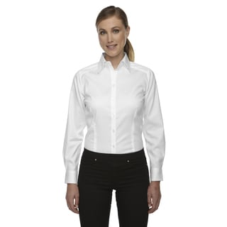 Wrinkle-Free Women's White Two-Ply 80'S Cotton Taped Stripe Jacquard Shirt