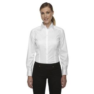 Wrinkle-Free Women's White Two-Ply 80'S Cotton Taped Stripe Jacquard Shirt