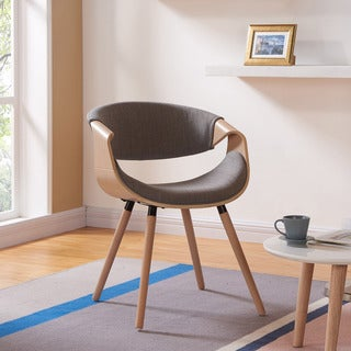 Chase Mid-Century Grey Fabric Beech Wood Accent Chair