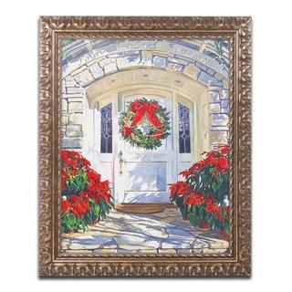 David Lloyd Glover 'Poinsettia House' Ornate Framed Art