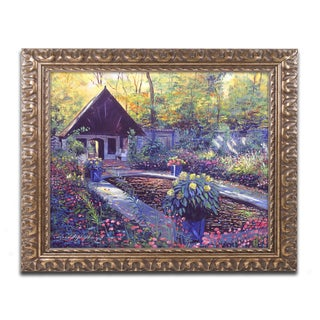David Lloyd Glover 'Blue Garden Impression' Ornate Framed Art
