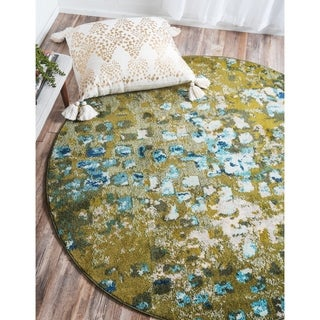 Turkish Abstract Area Rug Green/ Beige (8' x 8')