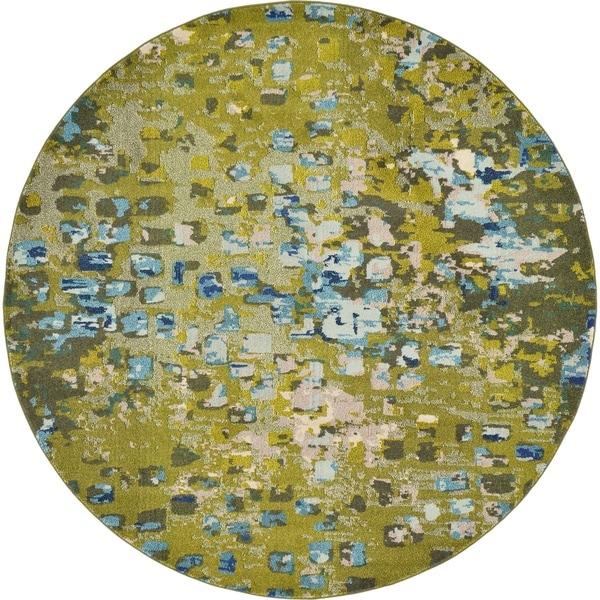Turkish Abstract Area Rug Green/ Beige (8' X 8')