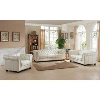 Nebraska Genuine Hand Rubbed Leather Chesterfield Sofa, Loveseat, and Chair Set