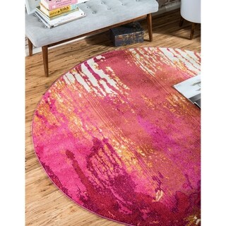 Synthetic Round 8x8 Area Rug