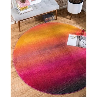 Synthetic Round Unique Loom Turkish Rug Multi/ Gold/ Red/ Yellow (8' x 8')