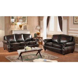 Vail Genuine Hand-Rubbed Brown Leather Sofa and Loveseat with Crocodile Embossing