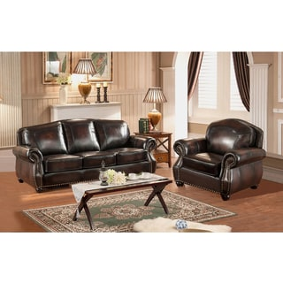 Vail Genuine Hand-Rubbed Leather Crocodile Embossed Sofa and Chair Set