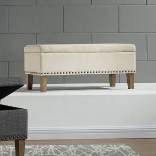 Riley 38-inch Fabric Storage Ottoman with Stud Detail