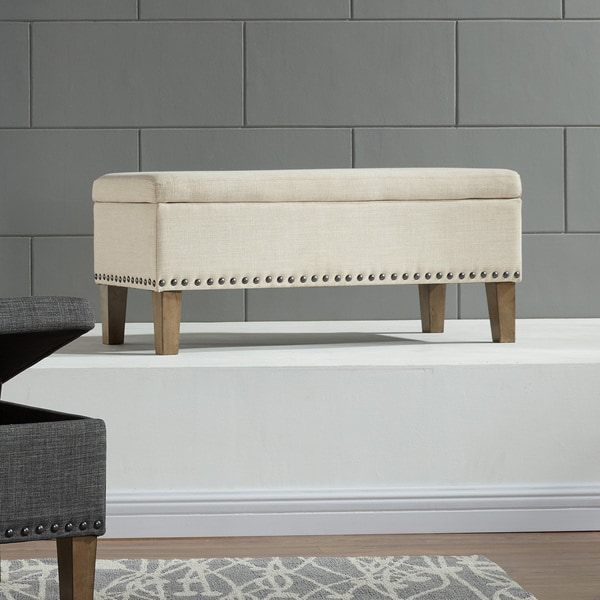 Shop Riley 38 Inch Fabric Storage Ottoman With Stud Detail Free