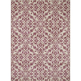 "Contempra Collection Melia Polypropylene Rug (6'7"" x 9'6"") (Option: Burgundy/Ivory)"