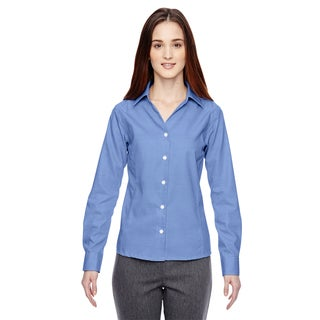 Precise Wrinkle-Free Women's Ink Blue 460 Two-Ply 80'S Cotton Dobby Taped Shirt