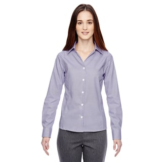 Precise Wrinkle-Free Women's Royal Purple 475 Two-Ply 80'S Cotton Dobby Taped Shirt