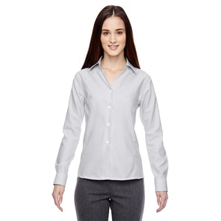 Precise Wrinkle-Free Women's Silver 674 Two-Ply 80'S Cotton Dobby Taped Shirt