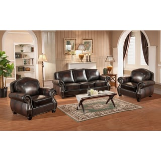 Vail Genuine Hand Rubbed Leather Sofa and Two Chairs with Crocodile Embossing