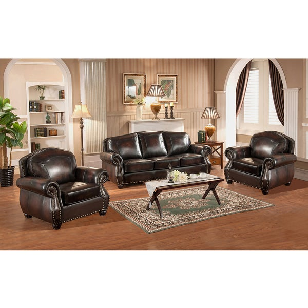 Vail Leather Sofa And Two Chairs Set