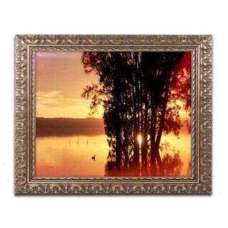 Beata Czyzowska Young 'Alone at Sunset' Ornate Framed Art