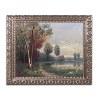 Daniel Moises 'Landscape with a Lake' Ornate Framed Art