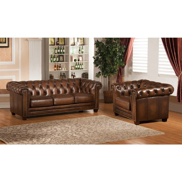 Hickory Brown Leather Chesterfield Sofa And Chair Set