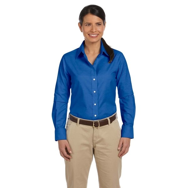 Long sleeve women 39 s oxford with stain release french blue for French blue oxford shirt