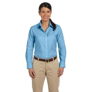 Long-Sleeve Women's Oxford With Stain-Release Light Blue Shirt