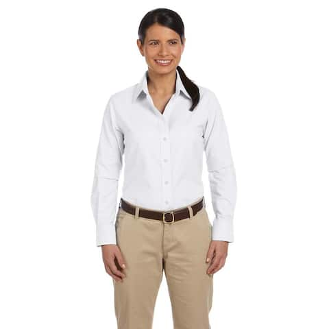 Long-Sleeve Women's Oxford with Stain-Release White Shirt