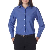 Long-Sleeve Women's Performance Pinpoint French Blue Shirt