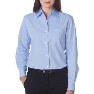 Long-Sleeve Women's Performance Pinpoint Light Blue Shirt