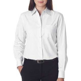 Long-Sleeve Women's Performance Pinpoint White Shirt