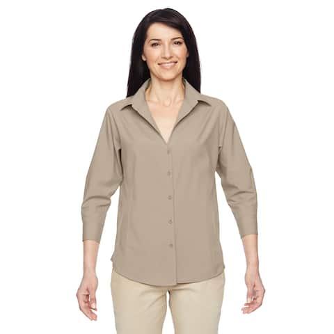 Paradise Women's Khaki Three-Quarter Sleeve Performance Shirt
