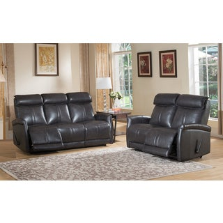 Mosby Top Grain Leather Lay-flat Reclining Sofa and Loveseat Set