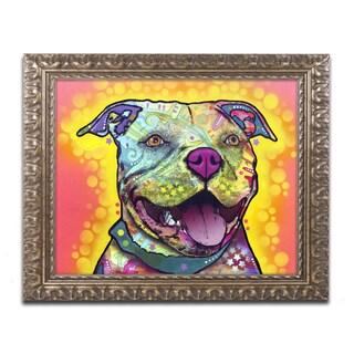 Dean Russo 'Dewey Pit Bull' Ornate Framed Art