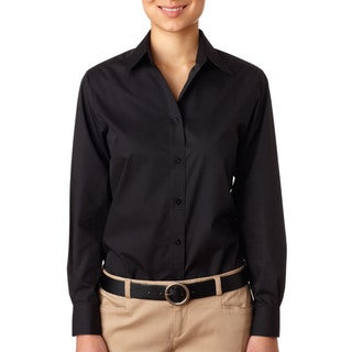 Performance Women's Poplin Black Shirt