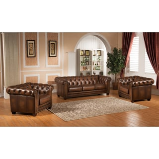 Hickory Genuine Hand-Rubbed Brown Leather Chesterfield Sofa and Two Chair Set