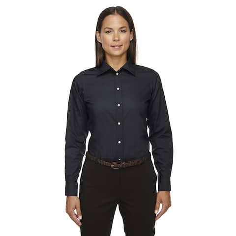 Crown Women's Collection Solid Broadcloth Black Shirt