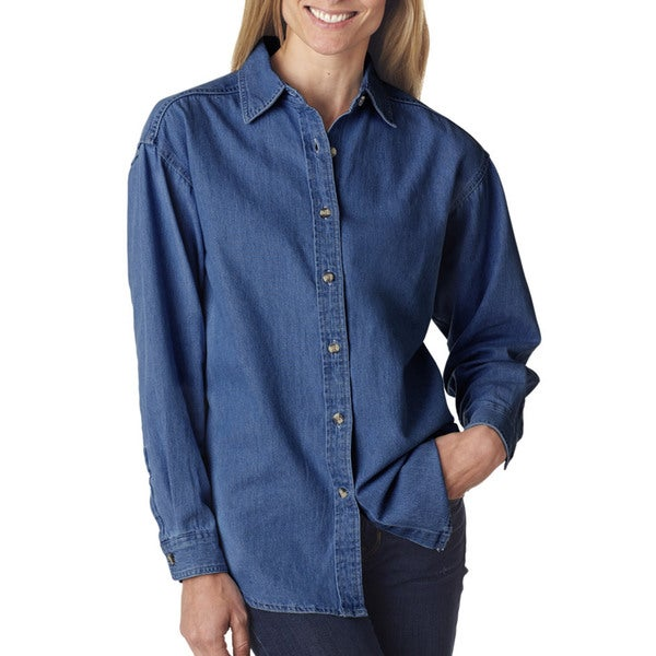 Cypress women 39 s indigo denim shirt free shipping on for Indigo denim shirt womens