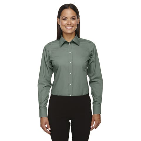 Crown Women's Collection Solid Broadcloth Dill Shirt