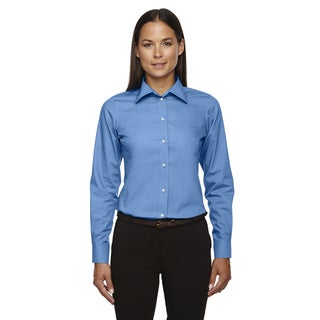 Crown Women's Collection Solid Broadcloth French Blue Shirt