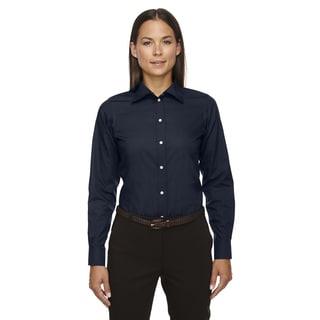 Crown Women's Collection Solid Broadcloth Navy Shirt