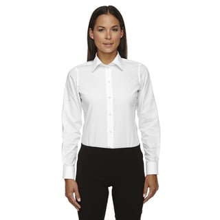 Crown Women's Collection Solid Broadcloth White Shirt